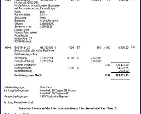 SAP Formular Bestellung Seite 2