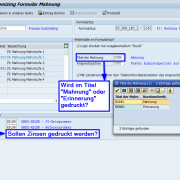 Customizing SAP Formular Mahnung