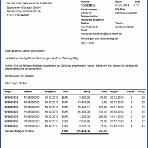 Layout SAP Formular Mahnung auf Basis der SAP Interactive Forms by Adobe