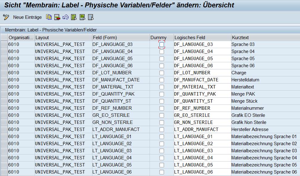 Labelmanagement mit SAP - membrain Labelmanagement mit logischen Feldern