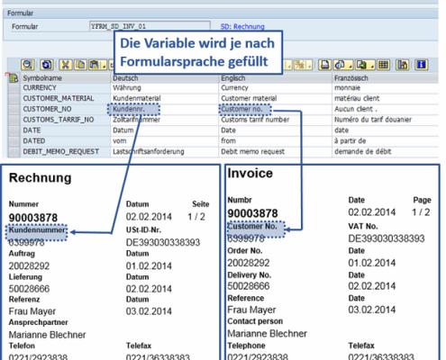 Übersetzung SAP Formular Rechnung