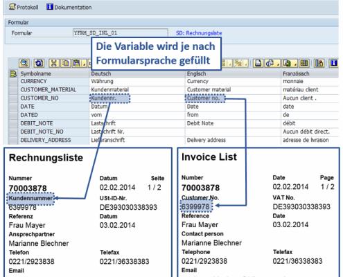 Übersetzung SAP Formular Rechnungsliste