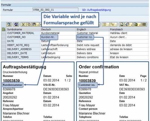 Übersetzung von SAP Formularen