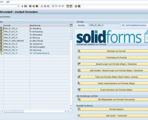 Cockpit für SAP Formulare