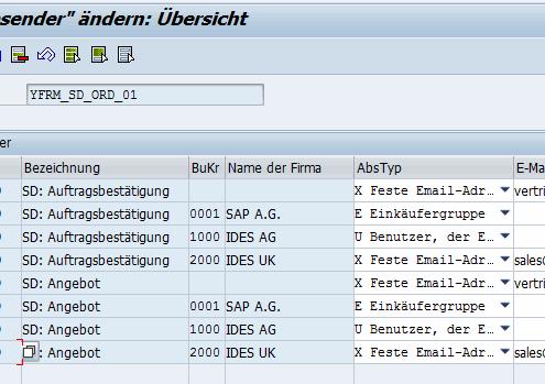 Email Absender SAP Formular
