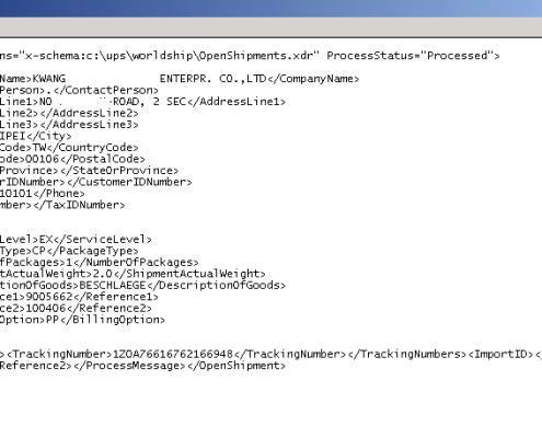 SAP Schnittstelle zu UPS Worldship OUT-Datei