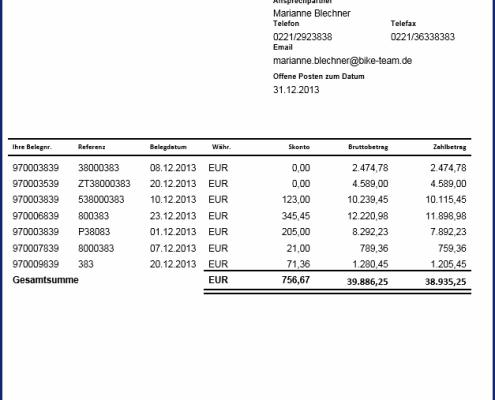 Layout SAP Formular Offene-Posten-Liste als PDF basiertes Druckformular zum Festpreis