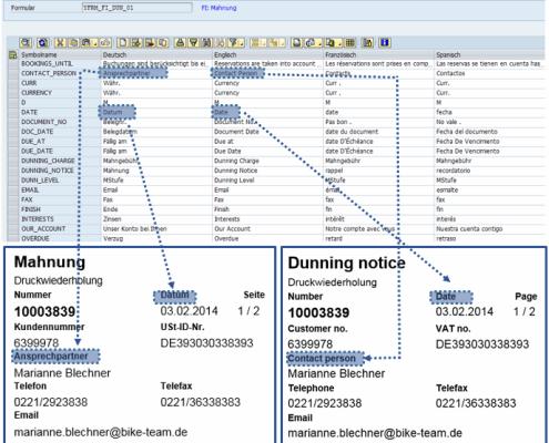 Pflege der Beschriftungen SAP Formular Mahnung auf Basis der SAP Interactive Forms by Adobe