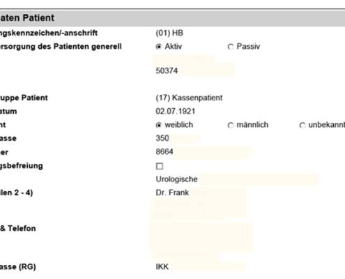 Interaktives SAP Formular Einsatzbericht: Stammdaten zum Patient