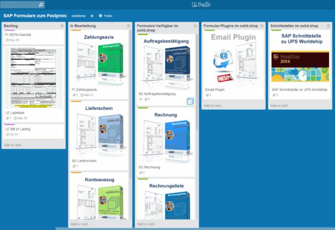 Trello Board für PDF-basierte Formulare zum Festpreis auf Basis der SAP Interactive Forms by Adobe