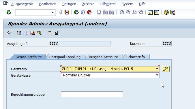 Schachtsteuerung SAP Adobe Forms Drucker zu Geraetetyp