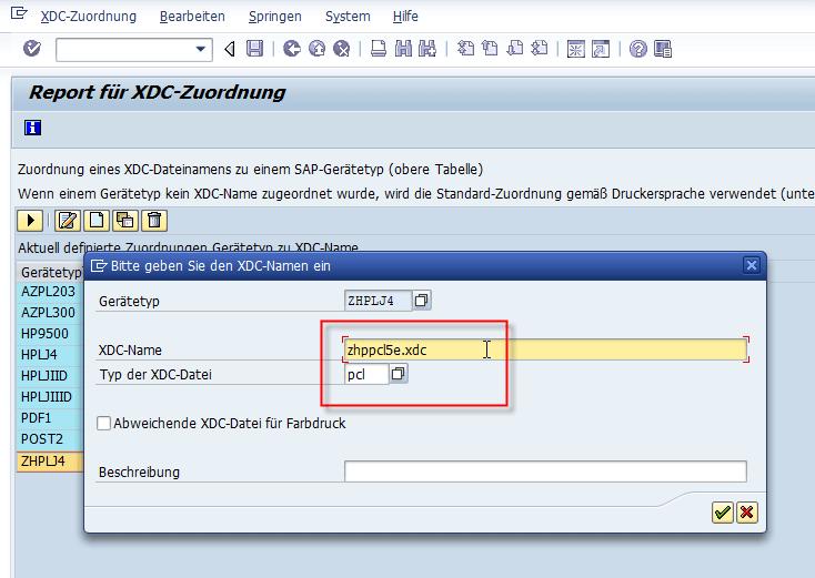 Schachtsteuerung SAP Adobe Forms Geraetetyp zu XDC 2