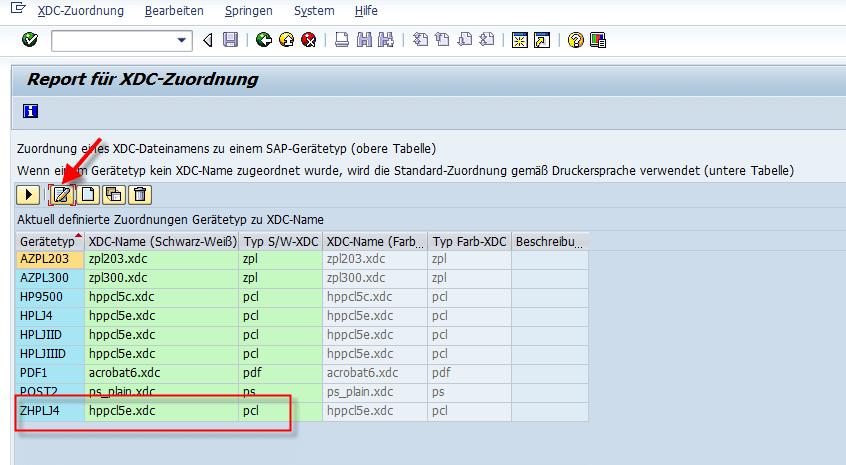 Schachtsteuerung SAP Adobe Forms Geraetetyp zu XDC