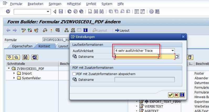 Schachtsteuerung SAP Adobe Forms Testen der Schachtsteuerung