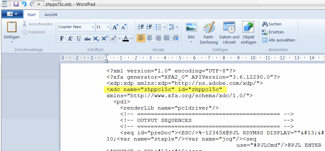 Schachtsteuerung SAP Adobe Forms XDC Dateien modifizieren