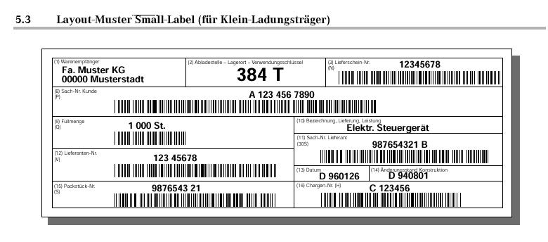 VDA 4902 KLT Label