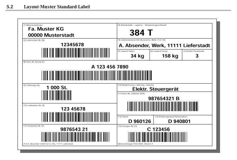 VDA 4902 Standard Label