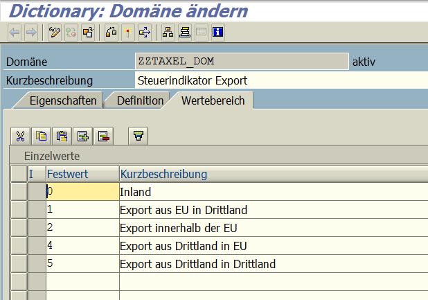 Domäne ZZTAXEL_DOM