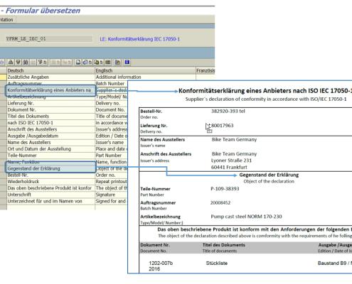 SAP Konformitätserklärung Texbausteine