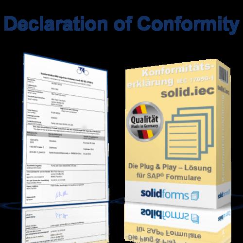 SAP form Declaration of conformity