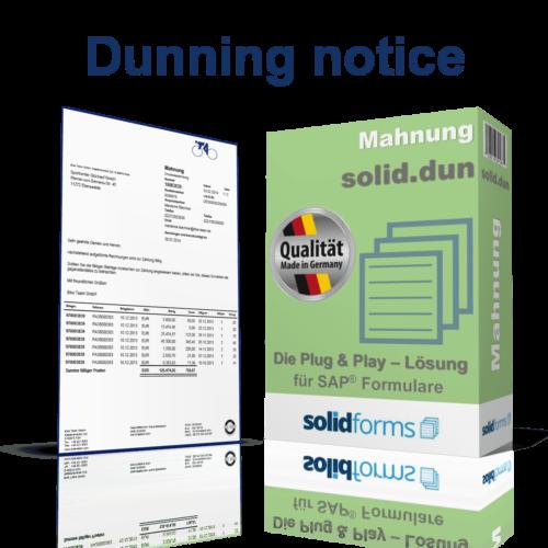 SAP form Dunning notice