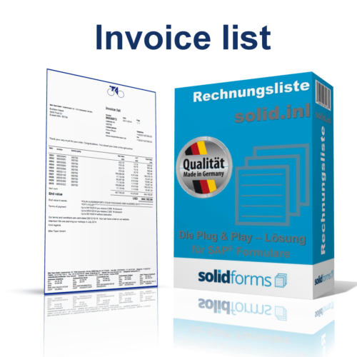 SAP form invoice list