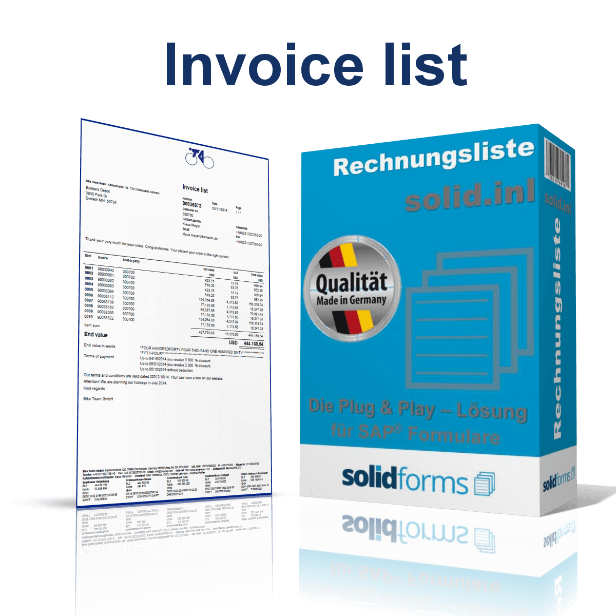 SAP form Invoice list based on SAP Interactive Forms by Adobe
