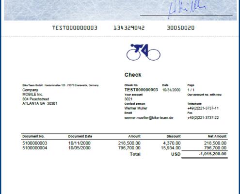 SAP Scheckformular oben