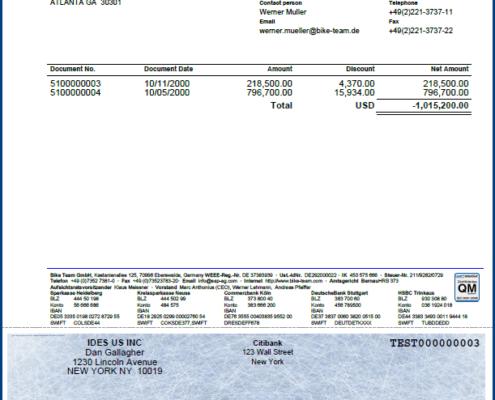 SAP Scheckformular unten