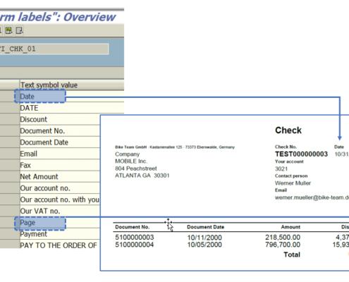 Textbausteine Formular SAP Scheck