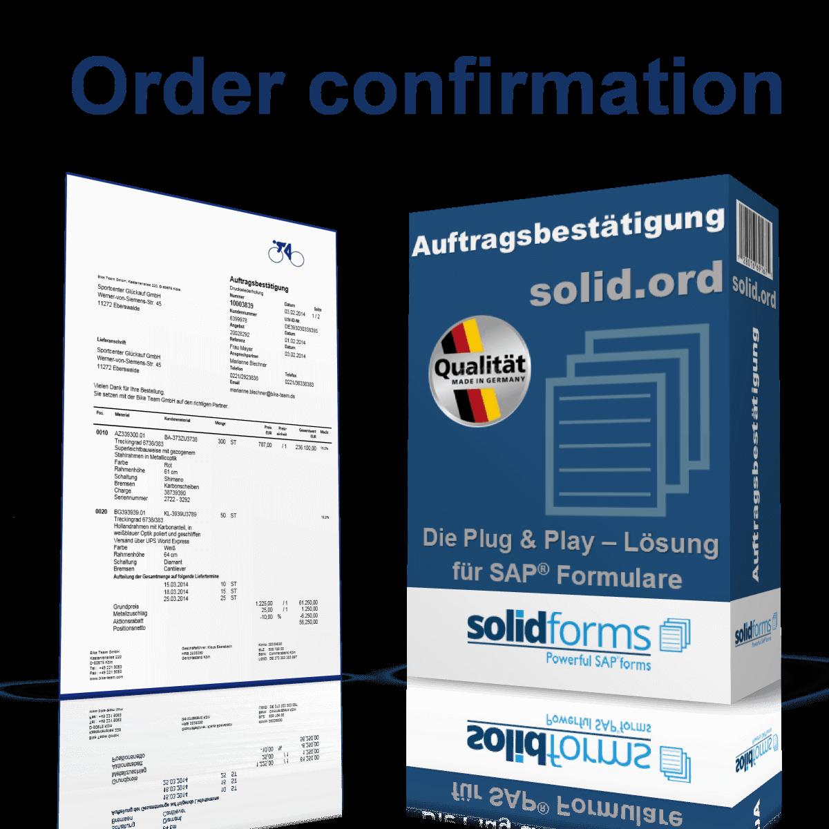 SAP Adobe Form Order confirmation | solidforms