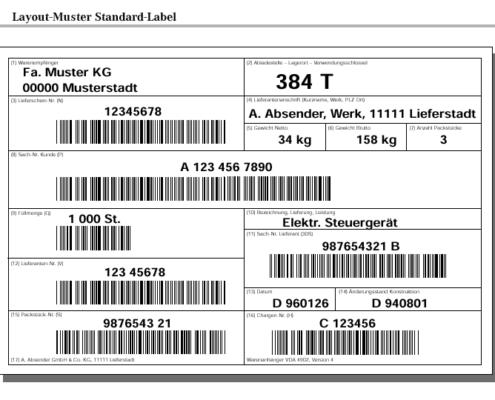 SAP Formular VDA Standard Label 4902